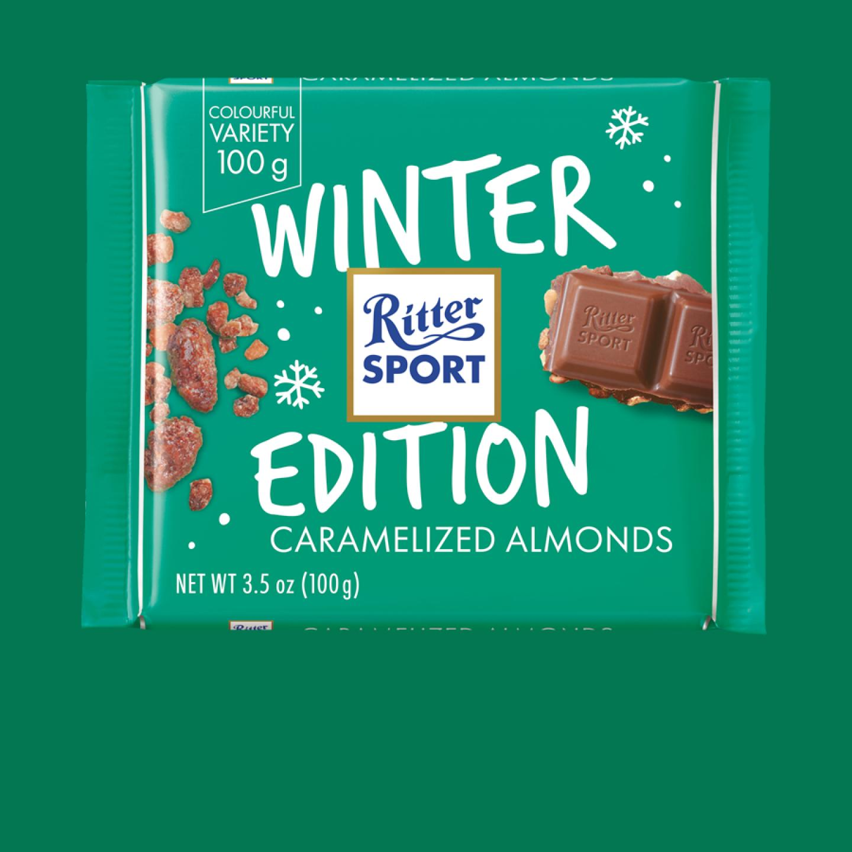 100g Winter Edition Caramalized Almonds Ritter Sport Chocolate Bar