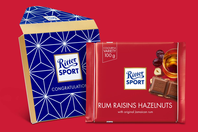 Rum Raisin Hazelnuts Gift Wrapped 100g Chocolate Bar