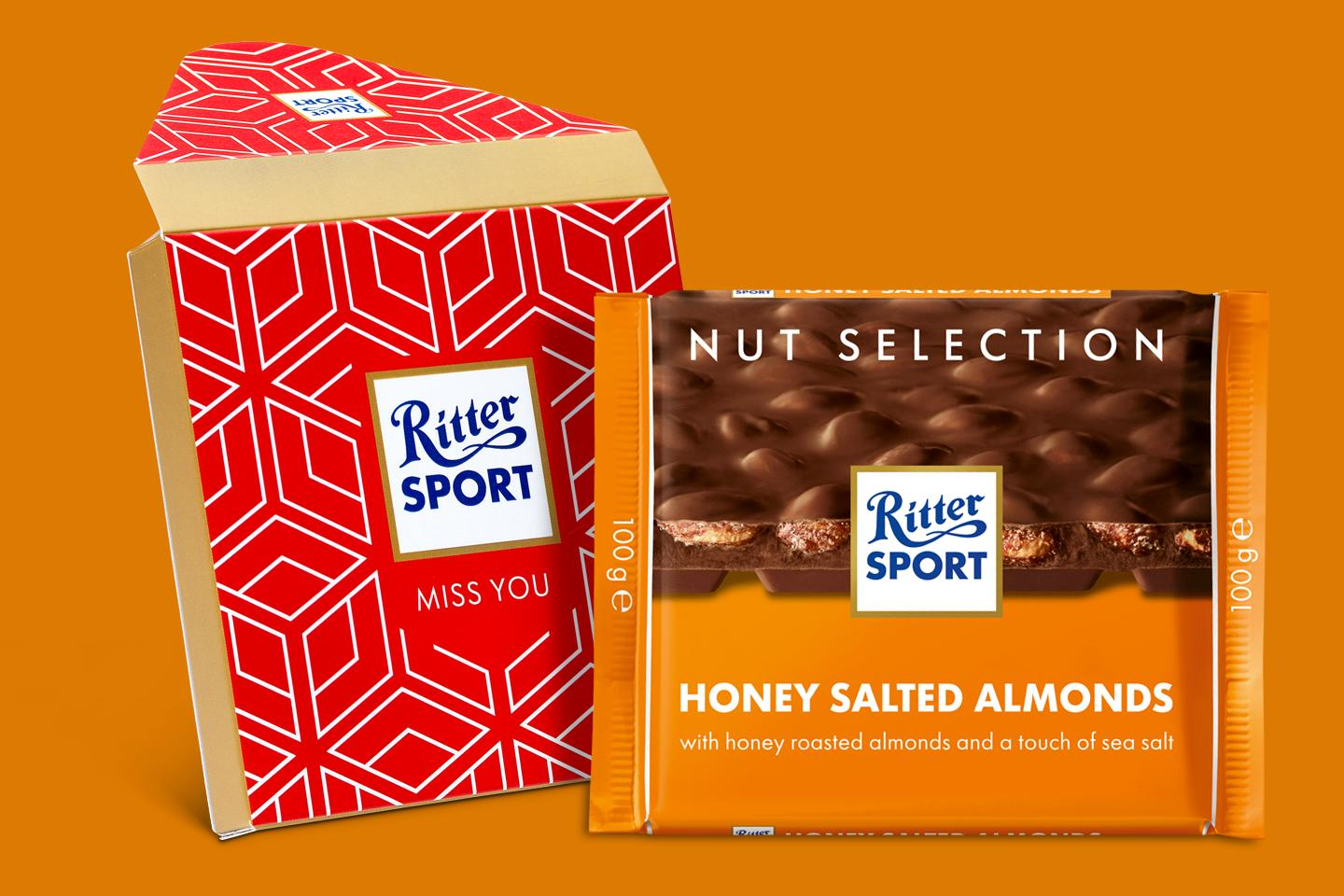 Honey Salted Almonds Gift Wrapped 100g Chocolate Bar