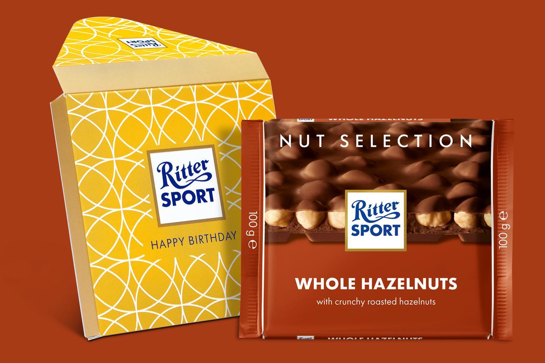 Whole Hazelnuts Gift Wrapped 100g Chocolate Bar